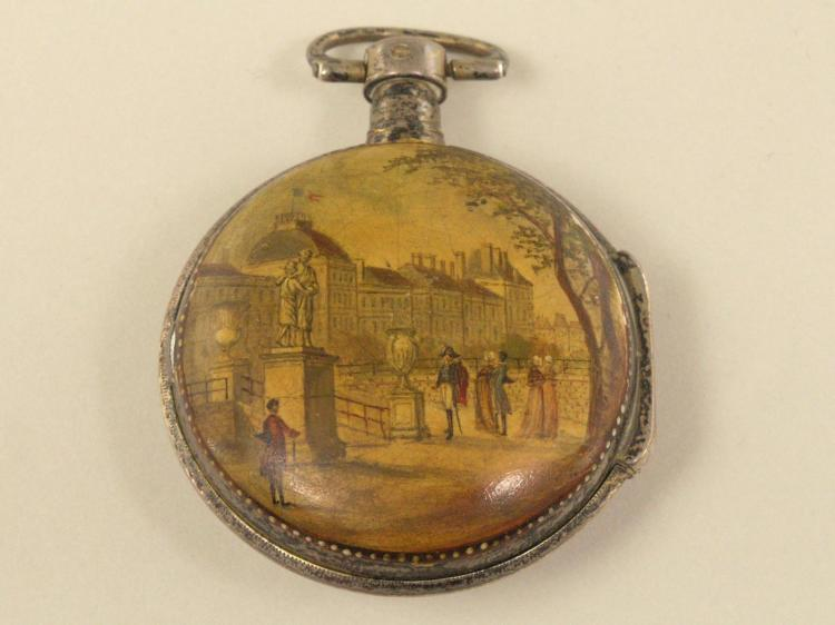 Taschenuhr: seltene französische Spindeluhr mit rückseitiger Darstellung einer Napoleon-Szene, Durand a Tinchebray No.2131, um 1800
