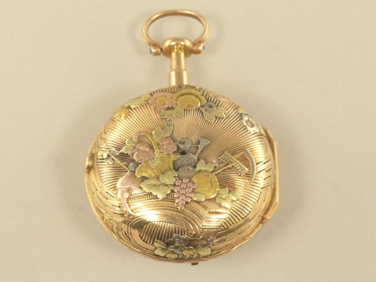 Taschenuhr: äußerst dekorative und sehr seltene 4-Farben-Gold-Spindeluhr mit Repetition a toc et a tact, königlicher Uhrmacher Julien Le Roy Paris, um 1760