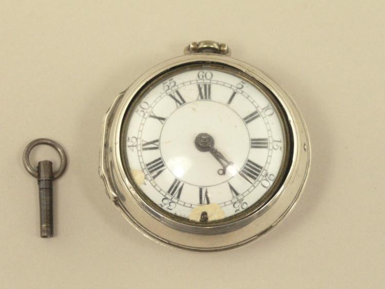 Taschenuhr: frühe englische Doppelgehäuse-Spindeluhr, Windemore London, Hallmarks 1760