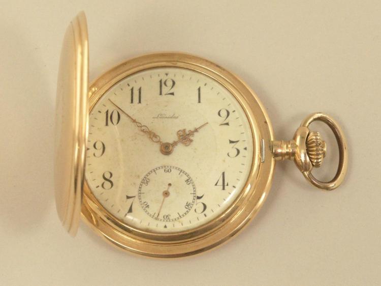 Taschenuhr: Savonnette Leonidas, um 1920, 14K Gold
