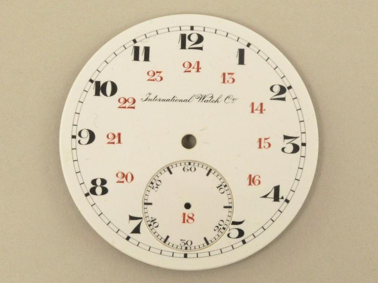 Taschenuhr/Armbanduhr: signiertes Emaillezifferblatt einer IWC Taschenuhr/Armbanduhr, um 1920