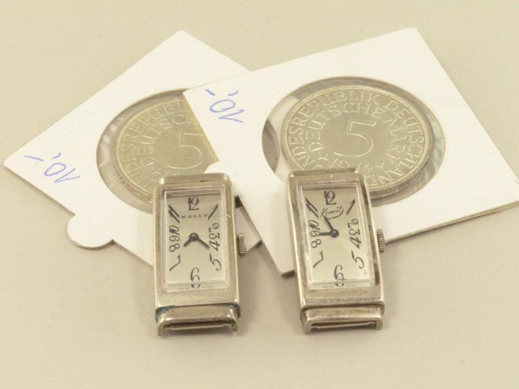Armbanduhr: Konvolut von 2 vintage Damenuhren mit Silbergehäusen, Marke Kelly & Komet, new-old-stock