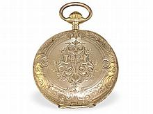 splendid engraved gold huntingcase watch with gold watch chain, Switzerland ca. 1900