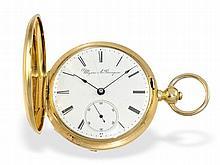 very rare lever chronometer, Ulysse Bourquin Bienne ca. 1860, 18 K gold