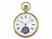 Pocket watch: Very fine Geneva lever chronometer watch with erotical automaton