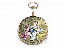 very rare enamel verge watch, hidden erotic painting and repetition, Meuron Chaux-de-Fonds for Berthoud, ca. 1820