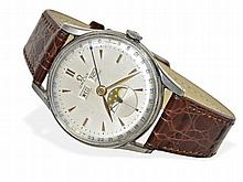 rare calendar watch with moon, Omega Cosmic, steel, from the 50s