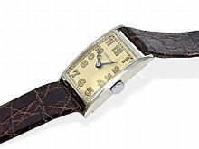 rare big Art Deco gentlemen's watch, white gold, Longines, from the 30s