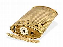 very rare and important gold/enamel snuffbox with watch and musical movement, attributed to Freres Rochat Geneva, ca. 1810