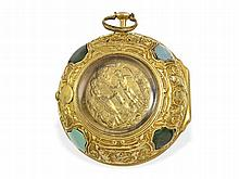 very rare 18 K repoussé verge watch with jewels and early Adam & Eva automaton, London ca. 1720