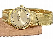 Omega Constellation automatic chronometer with original and extra long solid gold bracelet and original box, ca. 1965