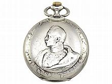 rare Art Nouveau relief pocket watch with portrait of the Emperor, silver, Huguenin