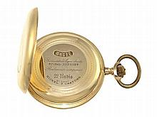 heavy gold huntingcase watch, lever chronometer, ca. 1900