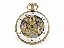 rare skeletonized 18 K gold verge watch with repetition and enamelled Jaquemart figured automaton, Paris ca. 1810