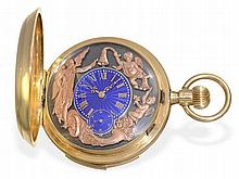 very fine gold huntingcase watch with minute repetition and automaton