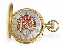 very fine but heavy Le Coultre gold huntingcase watch with minute repetition and figured automaton, ca. 1880