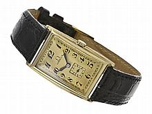 extremely early and big gentlemen's wristwatch by Omega, ca. 1925, 14 K gold