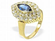 Sapphire and diamond ring, approximately 3 ct