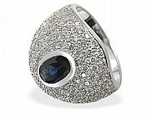 Sapphire and diamond ring, 1.5 ct diamonds