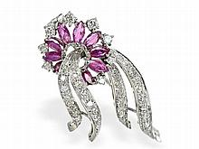 brooch with rubies and diamonds, approximately 1.75ct