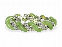bracelet with diamonds and jade