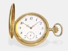 Taschenuhr: System Glashütte Goldsavonnette besonderer Qualität, J. Lippetz Geneve, um 1910