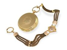 Pocket watch: heavy and early Geneva hunting case watch with corresponding chain, Ankerchronometer Tobias, ca. 1850 (NO LIVE FEE)