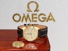Wristwatch: vintage Omega Seamaster chronograph from 1969, 18 K gold (NO LIVE FEE)