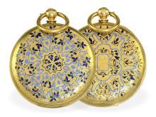 Pocket watch: decorative enamel hunting case watch for Ottoman market, Pateck Geneve, ca. 1870 (NO LIVE FEE)