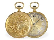 Pocket watch: very fine Longines watch with extremely rare Art Nouveau relief case, 18 K gold, ca. 1910 (NO LIVE FEE)