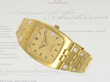 Wristwatch: luxurious edition of Omega Constellation Automatic Chronometer reference BA 168.059 from 1974, with Omega certificate (NO LIVE FEE)