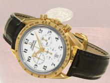 Wristwatch: Omega rarity, limited Speedmaster chronograph 'Broad Arrow' with enamel dial, no.7/99, all papers, Omega service documents, original box (NO LIVE FEE)