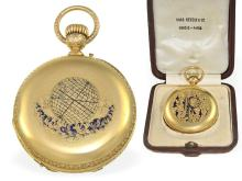 Pocket watch: very rare captain's watch, complex gold/enamel pocket watch chronometer with Seconde Morte, Haas Neveux & Cie Genève, ca.1870 (NO LIVE FEE)