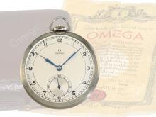 Pocket watch: elegant and very rare Omega Art Deco dress watch, stainless steel, fantastic condition, with original box and original certificate from 1938 (NO LIVE FEE)