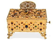 Singing bird box: rare singing bird box with beautiful jewels and pearls, probably German, 20th-century (NO LIVE FEE)