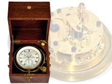Box chronometer/ship's chronometer: very interesting and early A. Lange & Söhne marine chronometer no. 474 with seconds & minute signal for electrical device, Glashütte 1923 (NO LIVE FEE)