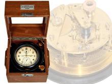 Box chronometer/ship's chronometer: rare Wempe marine chronometer, Glashütte movement, lever escapement, Glashütte/Hamburg, from the 40s (NO LIVE FEE)