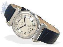 Wristwatch: rare Art Deco gentlemen's watch, stainless steel, Omega 'scarab' caliber 26.5 S0B T2, ca. 1935 (NO LIVE FEE)