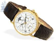 Wristwatch: very rare and vintage chronograph with calendar and moon, Baume & Mercier Ref. 86102, from the 80s (NO LIVE FEE)