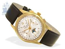 Wristwatch: high-grade 18 K gold chronograph with triple date and moon, Gigandet/Wakmann ca. 1965 (NO LIVE FEE)