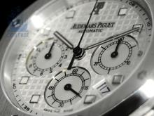 Wristwatch: sportive high-class chronograph, Audemars Piguet 'Royal Oak', 18 K white gold (NO LIVE FEE)