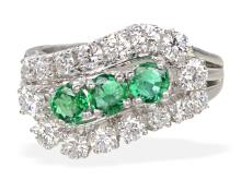 Vintage emerald and diamond ring by Rösner, famous german jeweller