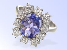 Fine tansanite and diamond ring