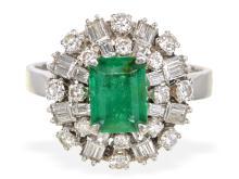 Vintage Emerald and diamond platinum ring