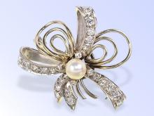 Vintage diamond and pearl pendant and brooch