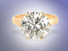 Fine diamond solitaire ring, 5.1 ct, certificated 2016