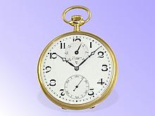 Pocket watch: Rare Paul Ditisheim chronometer with Affix balance and power reserve indication, Solvil ca. 1925