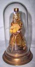 RARE BLOWN GLASS LADY SHAPED PERFUME IN GLASS DOME