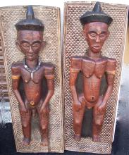 2 19TH CENTURY CARVED AFRICAN FIGURES ON BOARD
