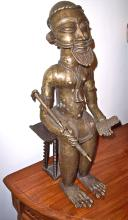 19TH CENTURY HEAVY BRONZE AFRICAN KING FIGURE ON CHAIR
